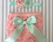 Baby girl bloomer set-pink and mint baby outfit-lace bloomers-cake smash outfit-photo prop-baby shower gift-diaper cover set-baby bloomers