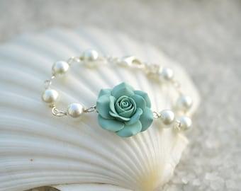 Dusty Mint Green Rose and pearls Bracelet, Dusty Mint Green Bridesmaid bracelets.