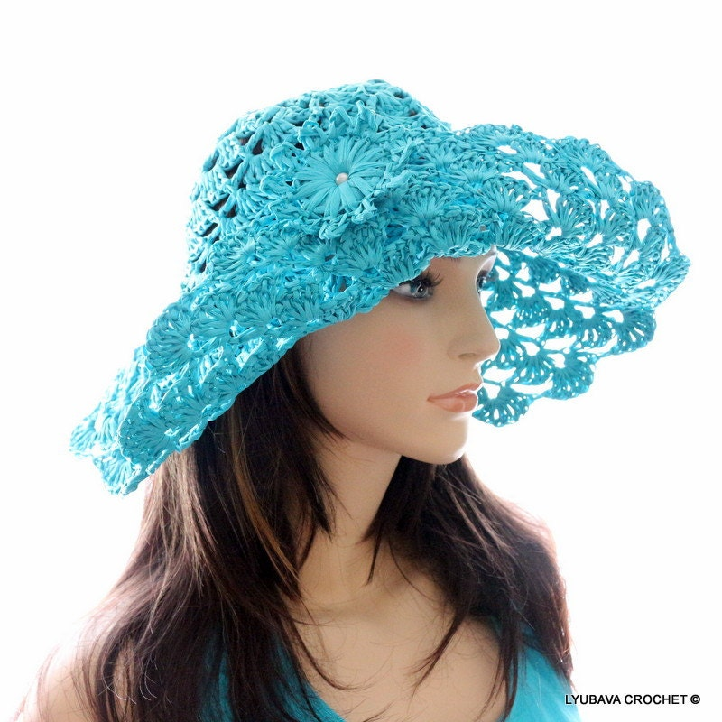 Crochet Pattern Sun Hat : Crochet PATTERN Crochet Hat With Flower Womens by ...