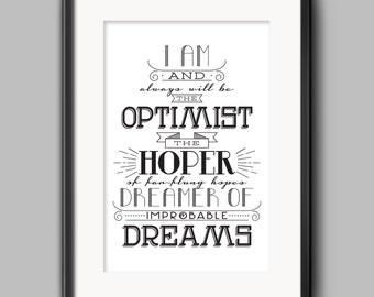 Digital Download - Doctor Who - Optimist Typography Quote Poster