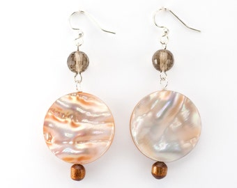 Shell Earrings/ Shell Jewelry/ statement earrings/ beach wedding/ beach jewelry/ unique jewelry/ surfer girl/ dangle earrings