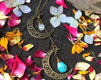 Double Crescent MOON - Moonstone & turquoise LARIAT - Silver or Brass