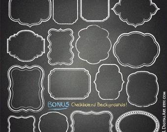 Chalkboard Rustic Clipart White Chalk Frames Commercial Use Free Chalkboard Background Instant Digital Download DIY Wedding 10655