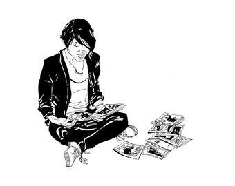 Woman reading zines - A5 illustration Art print.