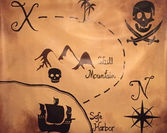 Pirate Backdrop - Pirate Photo Prop - Pirate Photography Backdrop - Pirate Party Supply - Treasure Map Backdrop - Pirate Treasure Map Mural