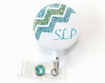 SLP Badge Reels - Chevron Retractable Badge Clip - Cute Name Badge Holder - ID Badge Pull - Speech Pathologist Gift - SLP Gifts - BadgeBloom