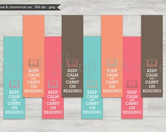 Digital Bookmark, Printable Bookmarks, Royalty Free Clipart, Keep Calm & Carry On Reading, N04, Instant Download