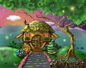 Hobbit House. An 11x14 double matted unframed limited edition print.