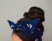 Nautical Blue Anchor Dolly bow Headband, hair bow head band