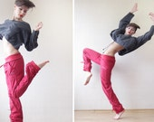 Red baggy drawstring sport fitness dance pants S