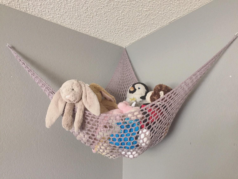 crochet stuffed animal hammock kid 39 s room by togetherinlove. Black Bedroom Furniture Sets. Home Design Ideas