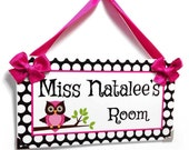 personalized teacher name classroom door signs - white, black and pink owls themed class owl wall plaque - P199