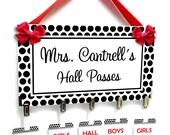 black dots in white bg theme classroom hall passes sign - teachers class bathroom office nursery tags - HP47