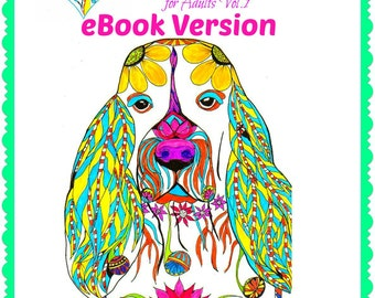 eBook Love Dogs Coloring Book for Adults Vol. 1 - Coloring Book - PDF Instant Download