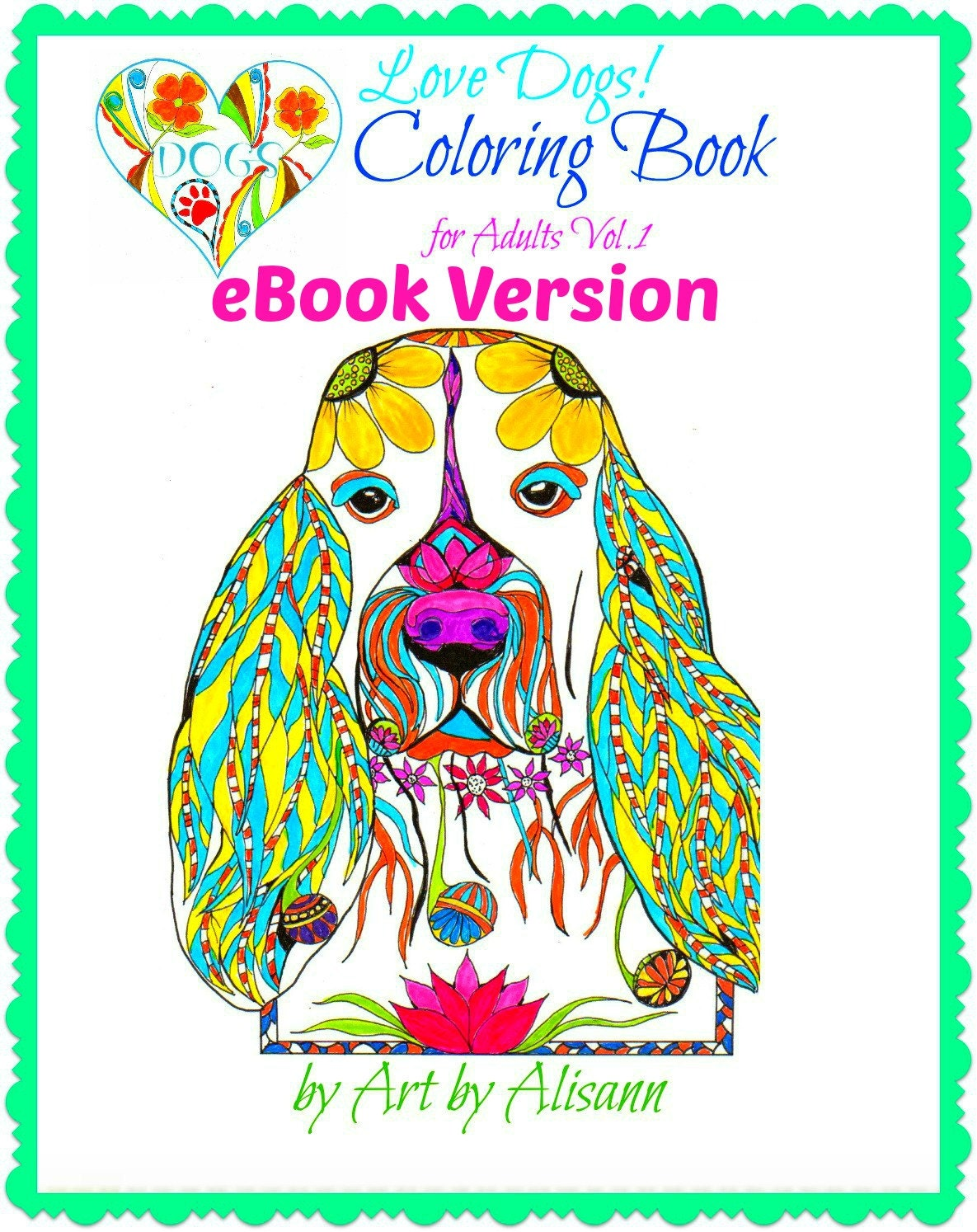 Coloring Book For Adults Ebook : eBook Love Dogs Coloring Book for Adults Vol. 1 Coloring