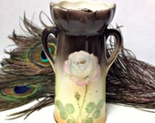 Antique Czechoslovakian VICTORIAN Era Single Pink Rose Two Handled Brown Ivory Green White Pink Bud Vase