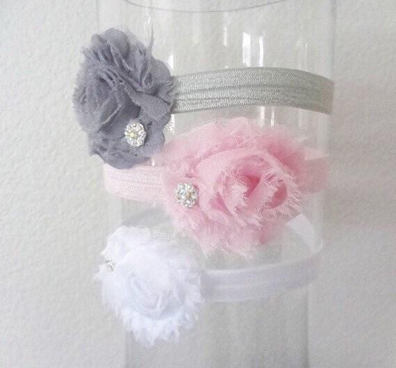 Baby Girl headband- baby headband SET- newborn headband- flower headband- infant headband