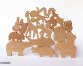 ANY 9 animals - Organic wooden toy - Wooden toy animals - handmade wooden toy
