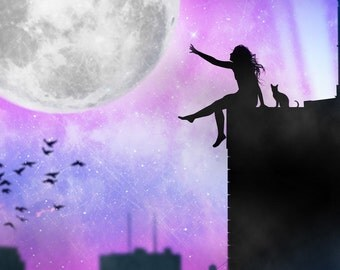 The moon,The girl and the city,Moon,girl,city,night,stars,landscape,art,artwork,new york,CHRISTMAS