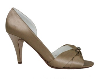 Champagne Heels - Size 9 Beige Crystal Rhinestone Bow Formal Pumps Evening Sandals Mule Cone Heel Womens Dress Sandals Shoes Michelangelo