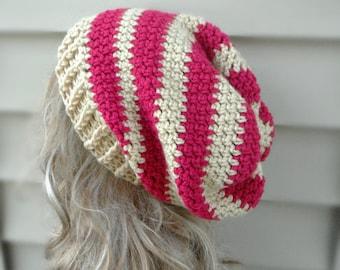 Pink Slouch Hat Crochet Womens Hat Winter Hat Hair Accessories Womens Accessories Winter Accessories Multi Color Hat