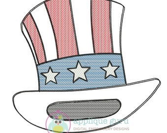 Uncle Sam Hat Sketch Design  -- Machine Applique Embroidery Design