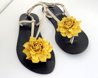 Yellow Leather Flower Shoe Clips