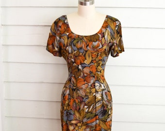 1990s rayon mini dress / Extra Small to Small vintage body con floral dress / grunge dress with flowers in brown, orange, blue, black, white
