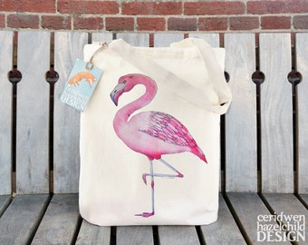 Flamingo Fair Trade Tote Bag, Reusable Shopper Bag, Cotton Tote, Shopping Bag, Eco Tote Bag, Reusable Grocery Bag
