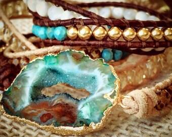 Druzy Crystal Geode Bracelet/Belt