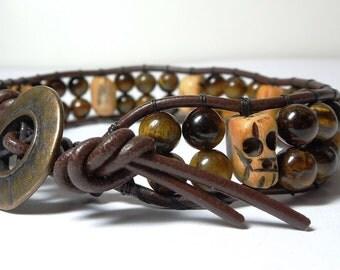 Skull Tiger Eye - Men's wrap bracelet
