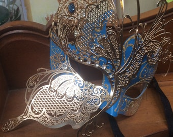 Vintage gold blue masquerade butterfly mask jeweled party vintage wedding mardi