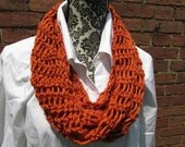 Infinity Scarf Crochet Acrylic Washable Colorful Warm Soft Handmade Adjustable Pumpkin Orange