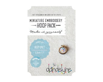 "1""/2.5cm teeny tiny embroidery hoop ***NEW*** - 3 piece set (hoop, centre and backing) - unique Dandelyne miniature embroidery hoop"