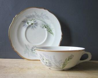 Big vintage French cup-saucer Porcelain LIMOGES BERNARDAUD Mid century Home decor