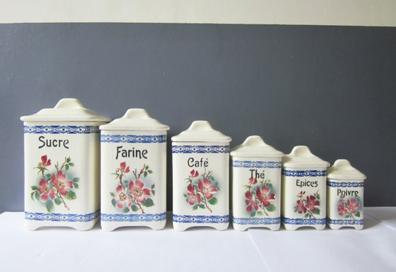 6 vintage french ceramic canisters blue kitchen flowers