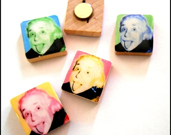 Albert Einstein Warhol Pop Art Scrabble Tile Magnet Set of 4