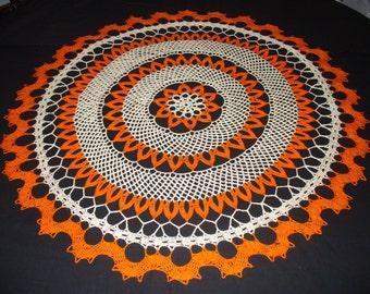 Handmade Orange and Cream Round Crochet Doily: Torch ginger