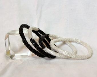 Sparkly Metallic  Black and Transparent White Handmade Beaded Bracelets Set,Seed Beads,Nepal, BS504