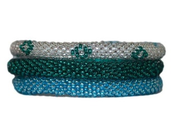 Sparkly Blue, Green and Silver Crocheted Beaded Bracelets Set,Seed Beads,Nepal, BS519