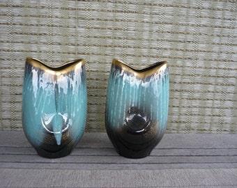 Set of 2 Vintage West German Ceramic Vase, Jasba Keramik, Mid Century Modern Decor