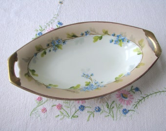 Vintage Imperial Crown Austria porcelain dish with hand painted forget-me-nots