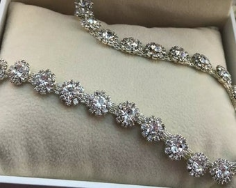 20cm  rhinestone embeded in alloy chain