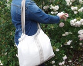 Linen tote bag bridesmaid favor bag with lace organic linen large beach SPA bag  in off white
