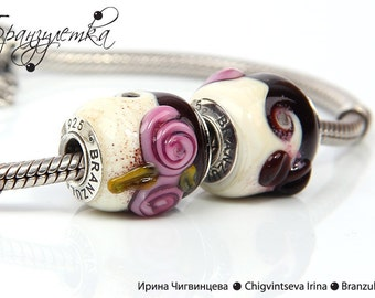 Coffee  - 1 pc European Beads lampwork brown pink ivory delicious  - Charm with a large hole - 925 silver core