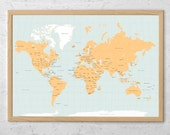 Rustic World Map Art Print Poster Countries - Political - USA states - Names - Travel Map World Map - Pin Trip Adventures, Summer Gift Idea