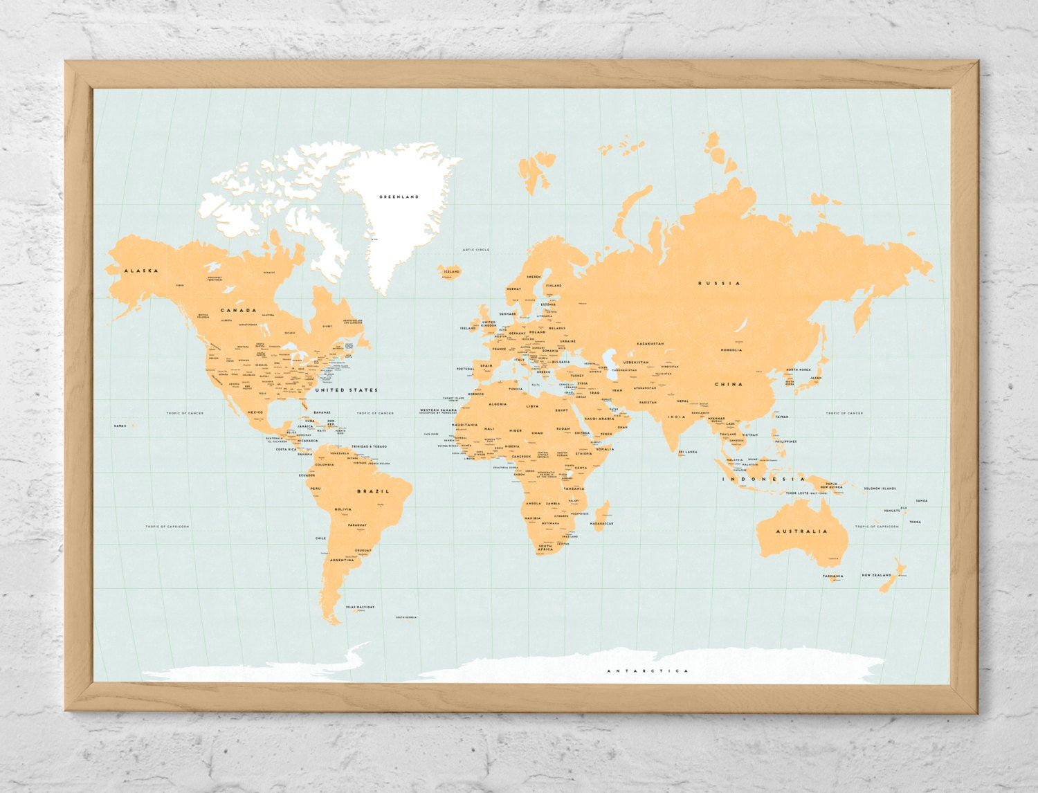 rustic world map canvas wall art