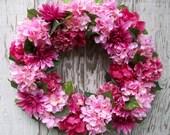 Pink Hydrangea Wreath, Spring Summer Wreath, Front Door Wreath, Year Round Wreath, Peony Wreath