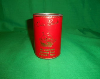 One (1), Leather Covered, Tin Cylindrical Souvenir Bank. The Mayflower, Plymouth Rock, Plymouth, MA
