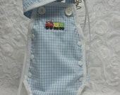 Vintage style Newborn baby boy sunsuit with train applique and matching cap